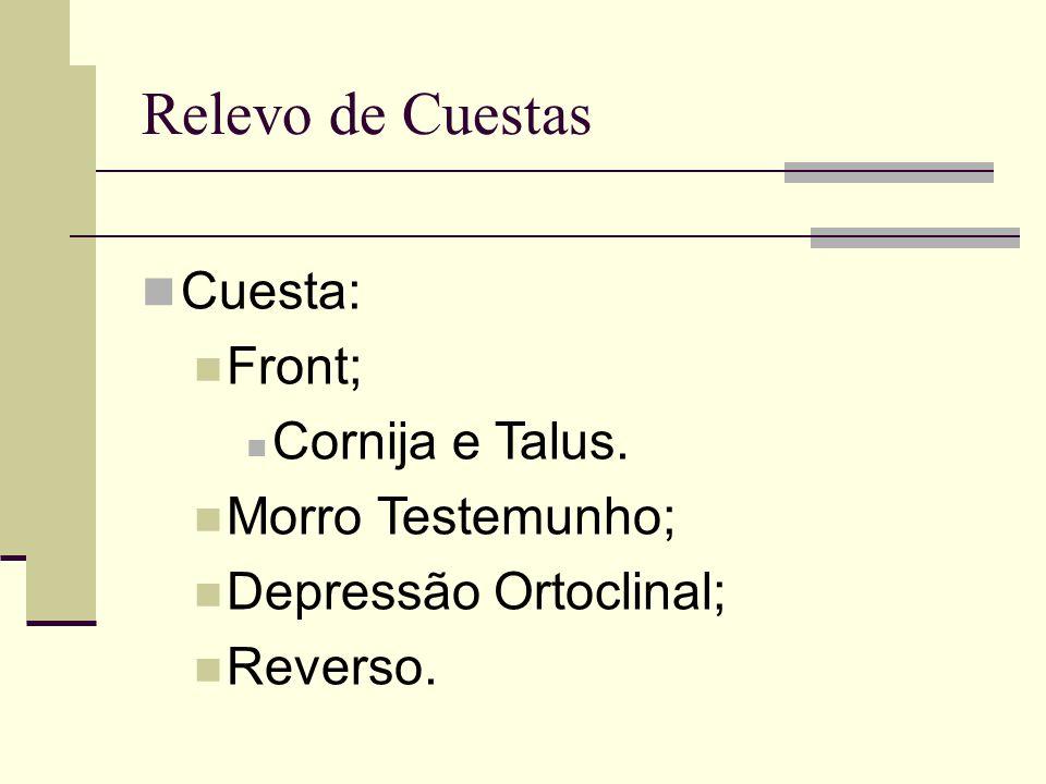 Relevo de Cuestas Cuesta: Front; Cornija e Talus. Morro Testemunho; Depressão Ortoclinal; Reverso.