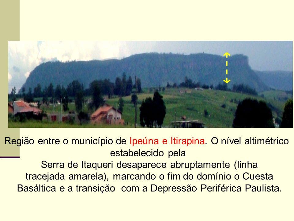 Região entre o município de Ipeúna e Itirapina. O nível altimétrico estabelecido pela Serra de Itaqueri desaparece abruptamente (linha tracejada amare