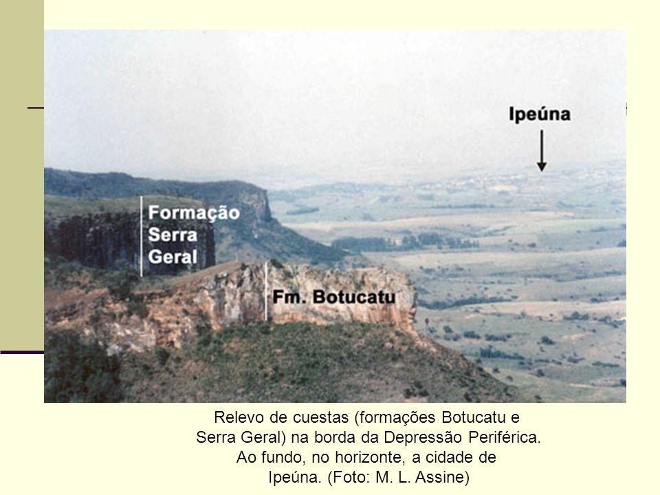 Relevo de cuestas (formações Botucatu e Serra Geral) na borda da Depressão Periférica. Ao fundo, no horizonte, a cidade de Ipeúna. (Foto: M. L. Assine