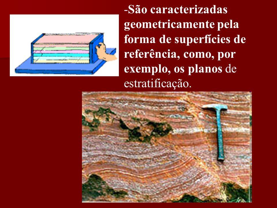 -São caracterizadas geometricamente pela forma de superfícies de referência, como, por exemplo, os planos de estratificação.