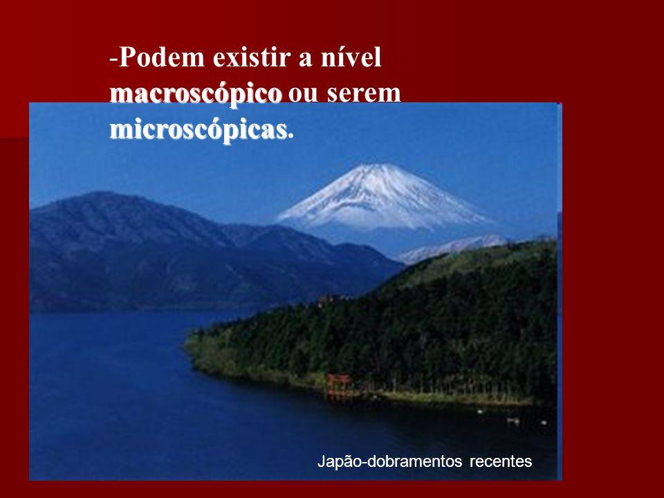 Japão-dobramentos recentes macroscópico microscópicas -Podem existir a nível macroscópico ou serem microscópicas.