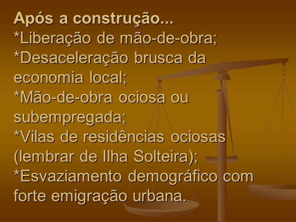 Após a construção... *Liberação de mão-de-obra; *Desaceleração brusca da economia local; *Mão-de-obra ociosa ou subempregada; *Vilas de residências oc