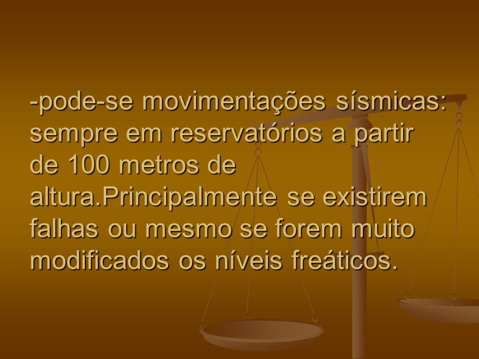 -pode-se movimentações sísmicas: sempre em reservatórios a partir de 100 metros de altura.Principalmente se existirem falhas ou mesmo se forem muito m