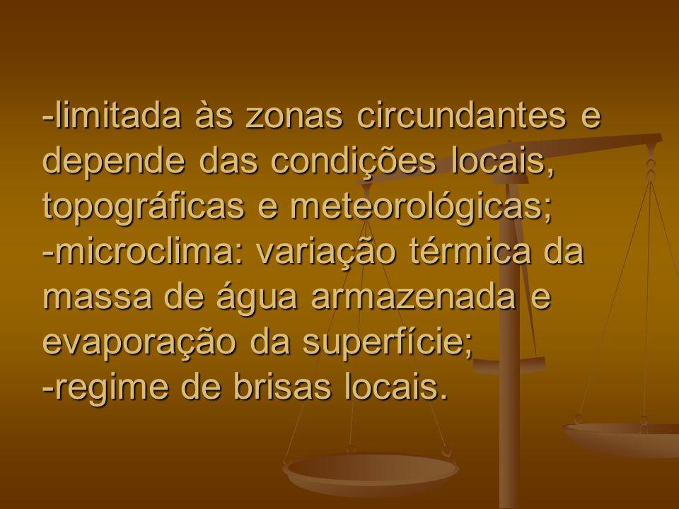 -limitada às zonas circundantes e depende das condições locais, topográficas e meteorológicas; -microclima: variação térmica da massa de água armazena