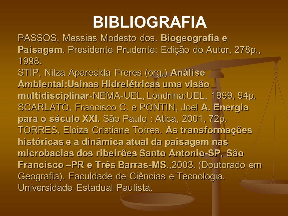 PASSOS, Messias Modesto dos. Biogeografia e Paisagem. Presidente Prudente: Edição do Autor, 278p., 1998. STIP, Nilza Aparecida Freres (org.) Análise A