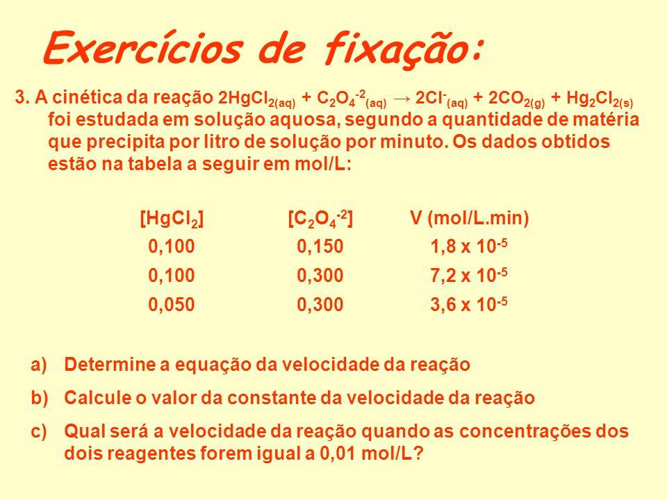 Exercícios de fixação: 1.Escreva a equação da velocidade em função das concentrações e das pressões parciais dos reagentespara cada uma das seguintes