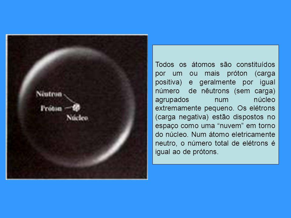 Todos os átomos são constituídos por um ou mais próton (carga positiva) e geralmente por igual número de nêutrons (sem carga) agrupados num núcleo ext