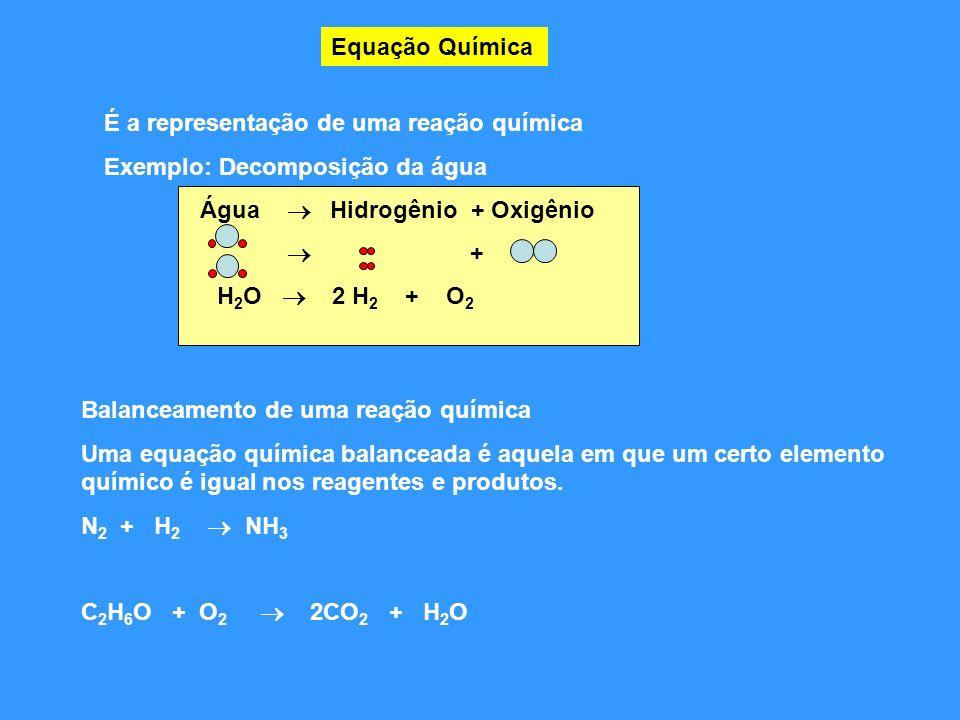 Equação Química É a representação de uma reação química Exemplo: Decomposição da água Água Hidrogênio + Oxigênio + H 2 O 2 H 2 + O 2 Balanceamento de