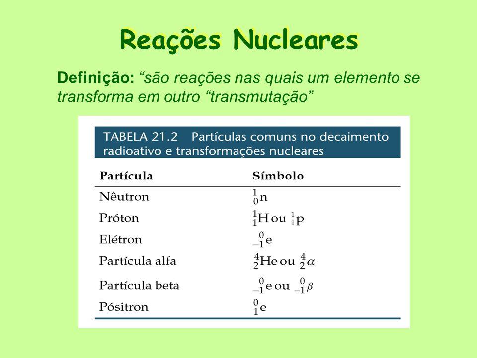 Reações Nucleares Definição: são reações nas quais um elemento se transforma em outro transmutação