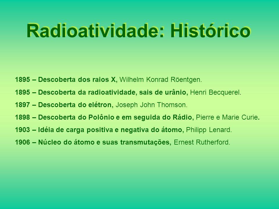 Natureza das Radiações Existem três tipos de radiação as quais consideramos: –Radiação é a perda de 4 2 He pelo núcleo.