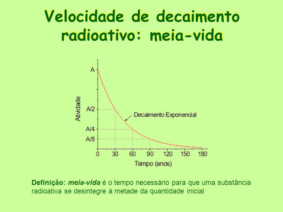 Velocidade de decaimento radioativo: meia-vida Definição: meia-vida é o tempo necessário para que uma substância radioativa se desintegre à metade da
