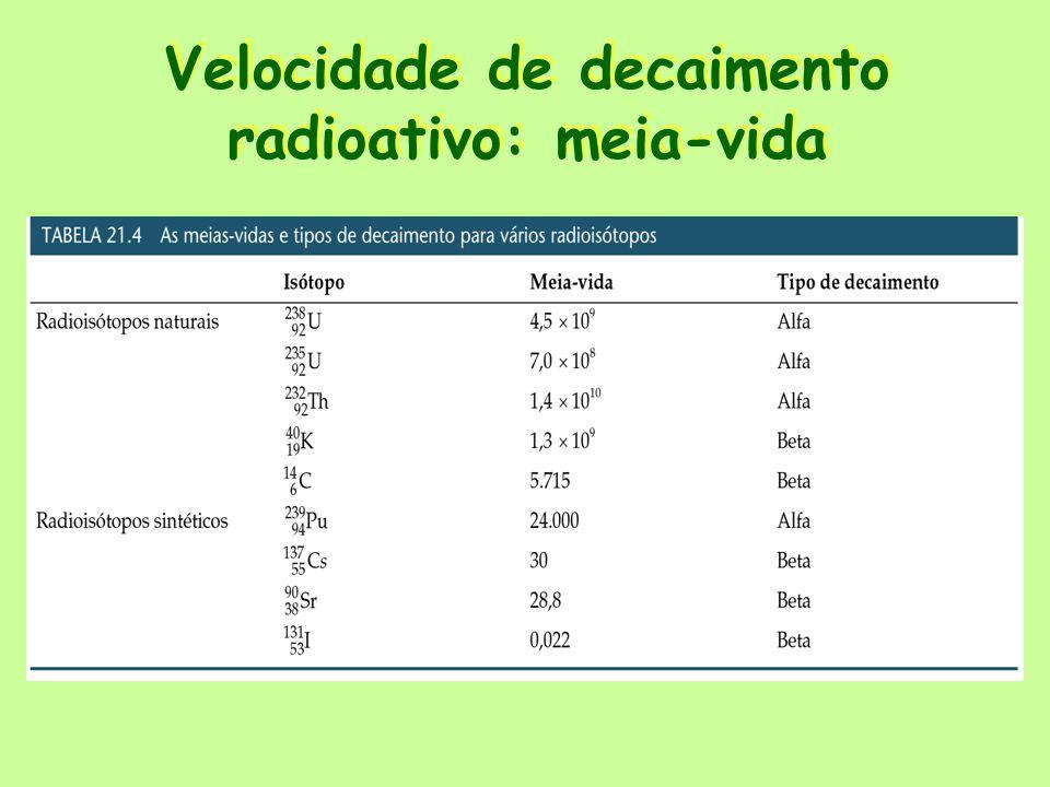 Datação através da meia-vida Datação O carbono 14 é usado para determinar as idades de compostos orgânicos, uma que as meias-vidas são constantes.