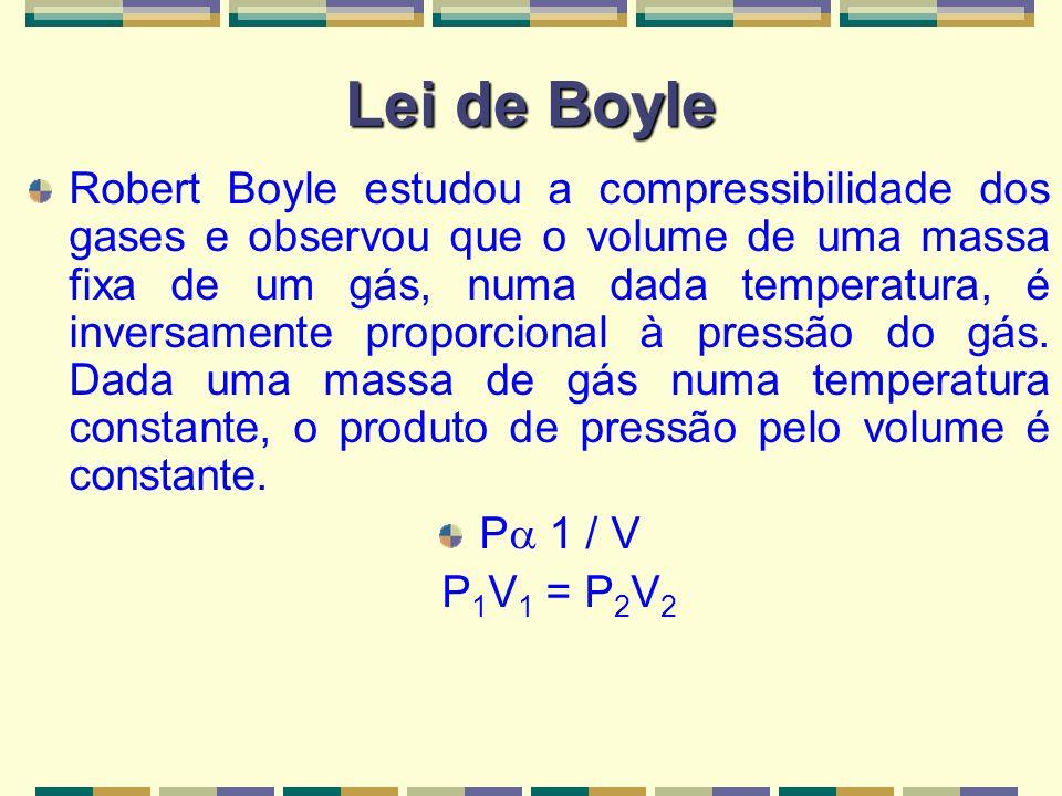 Lei de Boyle Se P 1 / V, então: P 1 V 1 = P 2 V 2