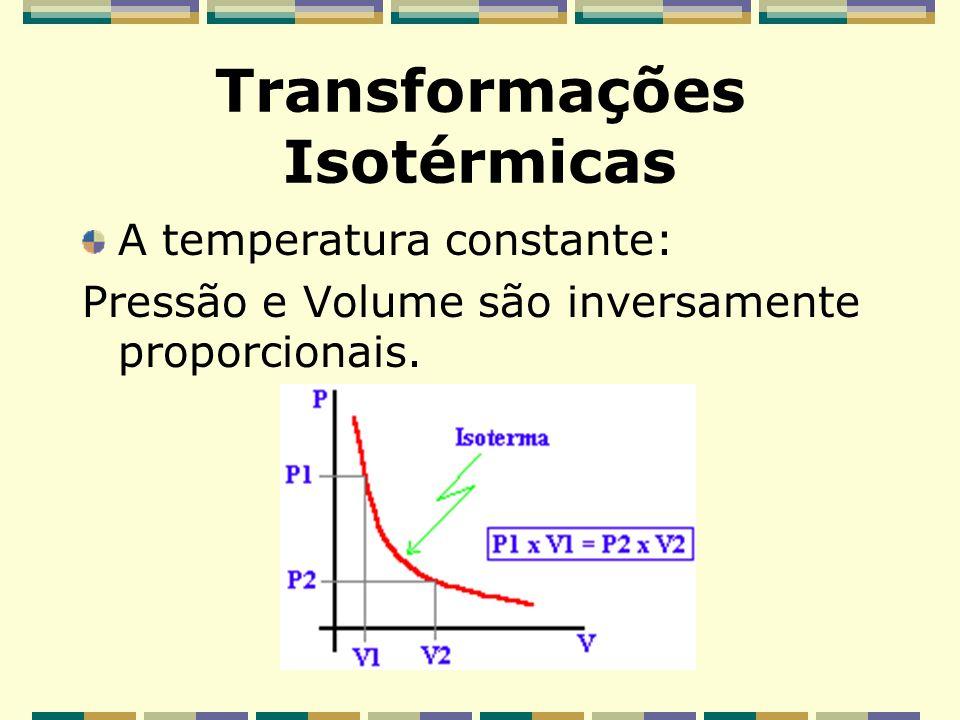 Lei de Boyle Robert Boyle estudou a compressibilidade dos gases e observou que o volume de uma massa fixa de um gás, numa dada temperatura, é inversam