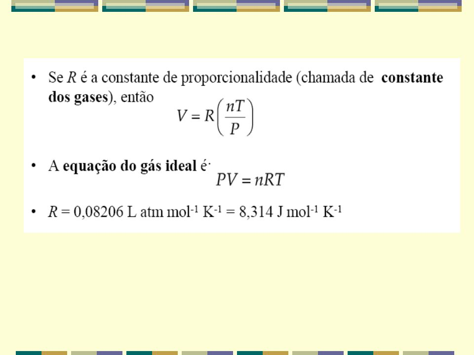 Considere as três leis dos gases. Podemos combiná-las em uma lei geral dos gases: Lei de Boyle: Lei de Charles: Lei de Avogadro: A equação do gás idea