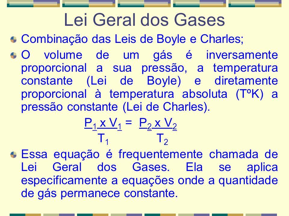 ISOBÁRICA (p 1 = p 2 ) V 1 T 1 = V 2 T 2 lei de Charles e Gay-Lussac ISOCÓRICA (V 1 = V 2 ) p 1 T 1 = p 2 T 2 lei de Charles e Gay-Lussac ISOTÉRMICA (