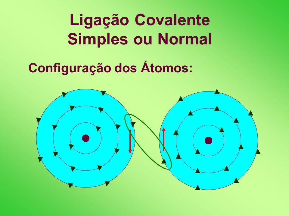Ligação Covalente Simples ou Normal Definição: é assim chamada quando o par eletrônico compartilhado é formado por um elétron de cada átomo ligante. E