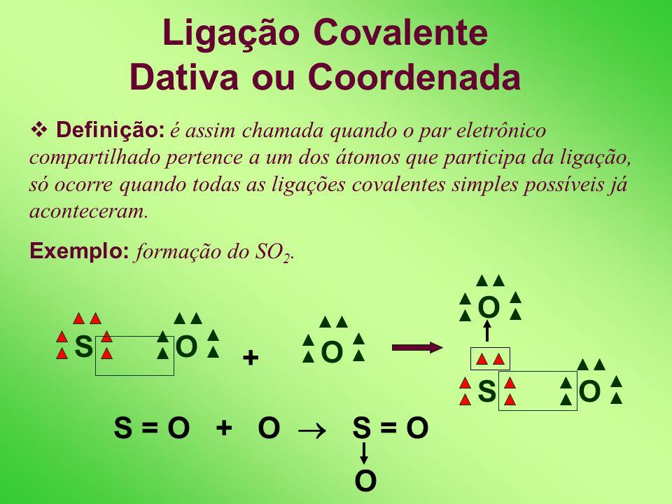 Exemplos de Ligações Covalentes Simples O 2 ou O = O OO N 2 ou N N NN OHH H 2 O ou H - O - H ClH HCl ou H - Cl