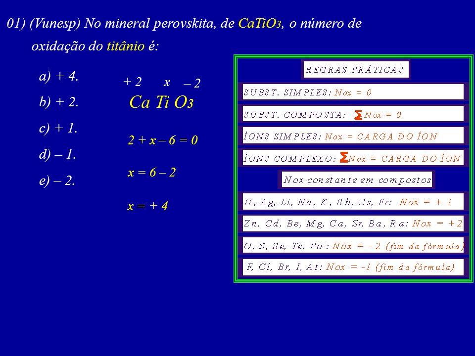 Determine o número de oxidação do elemento destacado em cada um dos compostos a seguir: 01. S 8 09. CH 2 Cl 2 02. ZnS 10. HCOOH 03. HBrO 4 11. Co 2+ 0