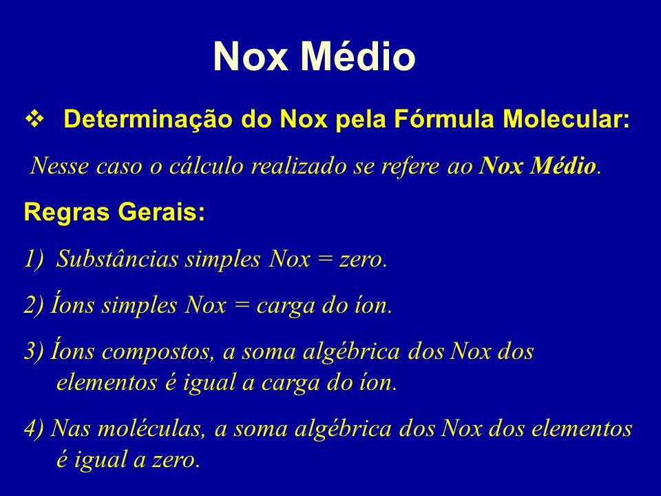 Nox Real Determinação do Nox pela fórmula estrutural: Depende basicamente da observação da diferença de eletronegatividade entre os átomos de cada lig