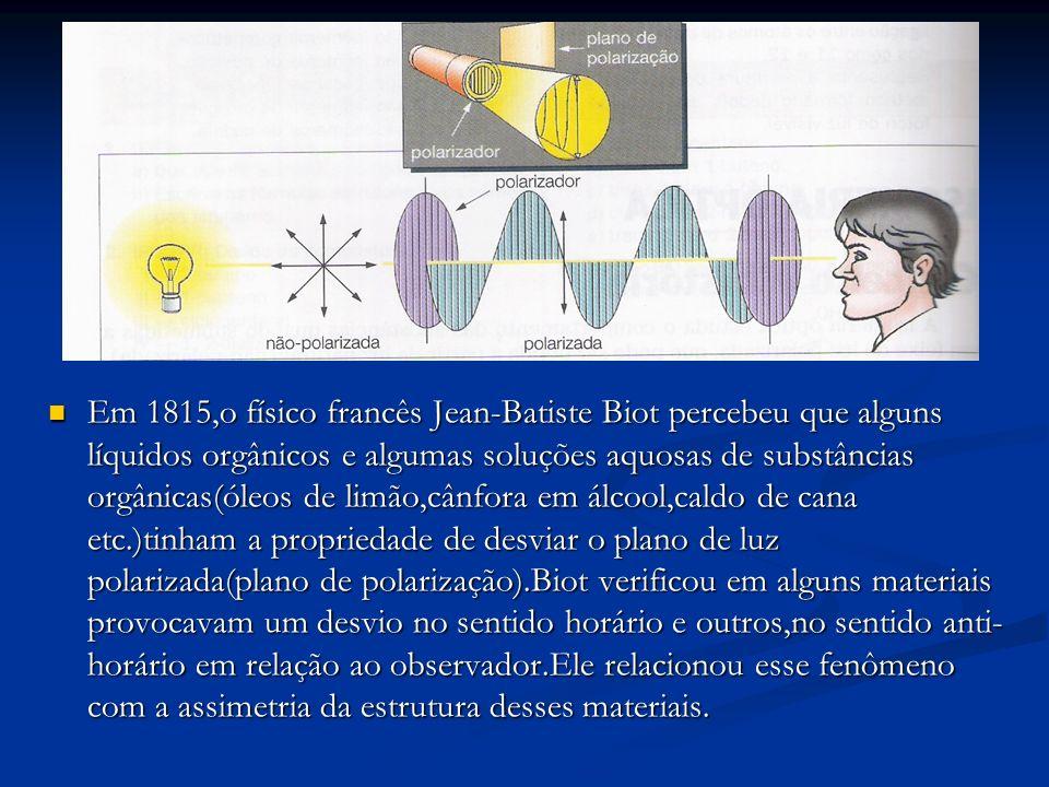 Em 1815,o físico francês Jean-Batiste Biot percebeu que alguns líquidos orgânicos e algumas soluções aquosas de substâncias orgânicas(óleos de limão,c