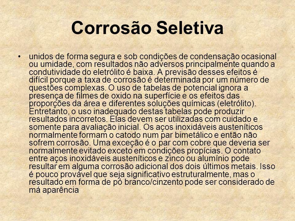 Corrosão Seletiva unidos de forma segura e sob condições de condensação ocasional ou umidade, com resultados não adversos principalmente quando a cond