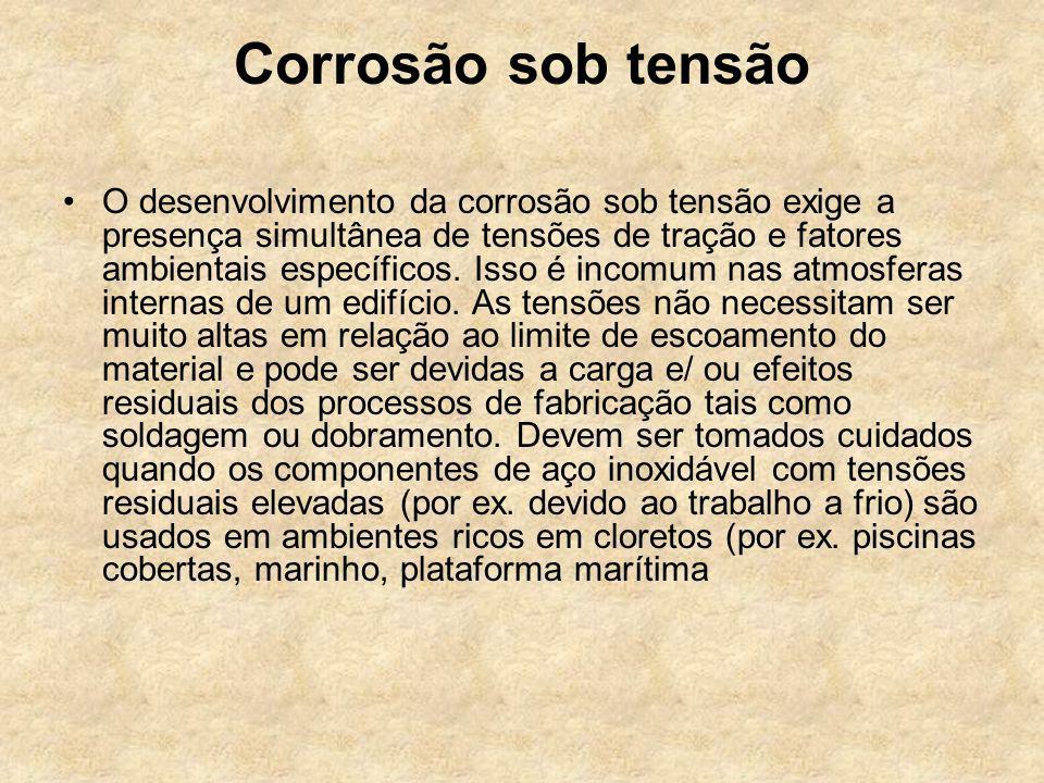 Corrosão sob tensão O desenvolvimento da corrosão sob tensão exige a presença simultânea de tensões de tração e fatores ambientais específicos. Isso é