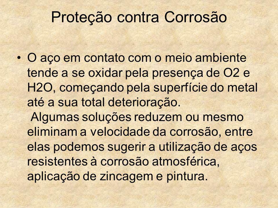 Proteção contra Corrosão O aço em contato com o meio ambiente tende a se oxidar pela presença de O2 e H2O, começando pela superfície do metal até a su