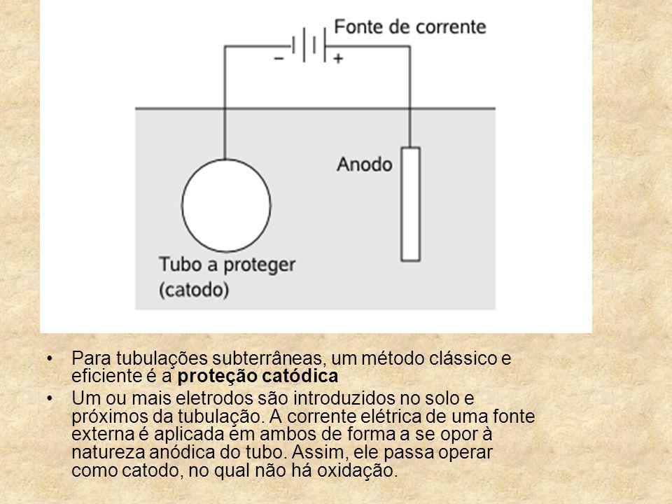 Para tubulações subterrâneas, um método clássico e eficiente é a proteção catódica Um ou mais eletrodos são introduzidos no solo e próximos da tubulaç