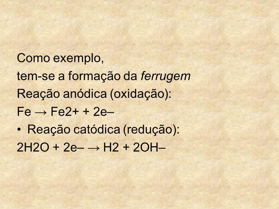 Como exemplo, tem-se a formação da ferrugem Reação anódica (oxidação): Fe Fe2+ + 2e– Reação catódica (redução): 2H2O + 2e– H2 + 2OH–