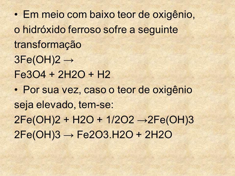 Em meio com baixo teor de oxigênio, o hidróxido ferroso sofre a seguinte transformação 3Fe(OH)2 Fe3O4 + 2H2O + H2 Por sua vez, caso o teor de oxigênio