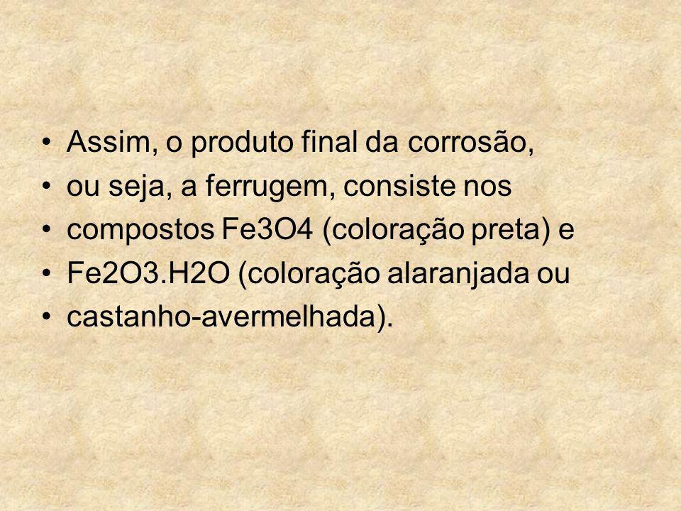 Assim, o produto final da corrosão, ou seja, a ferrugem, consiste nos compostos Fe3O4 (coloração preta) e Fe2O3.H2O (coloração alaranjada ou castanho-