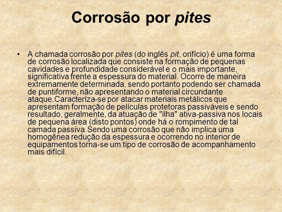 Corrosão por pites A chamada corrosão por pites (do inglês pit, orifício) é uma forma de corrosão localizada que consiste na formação de pequenas cavi