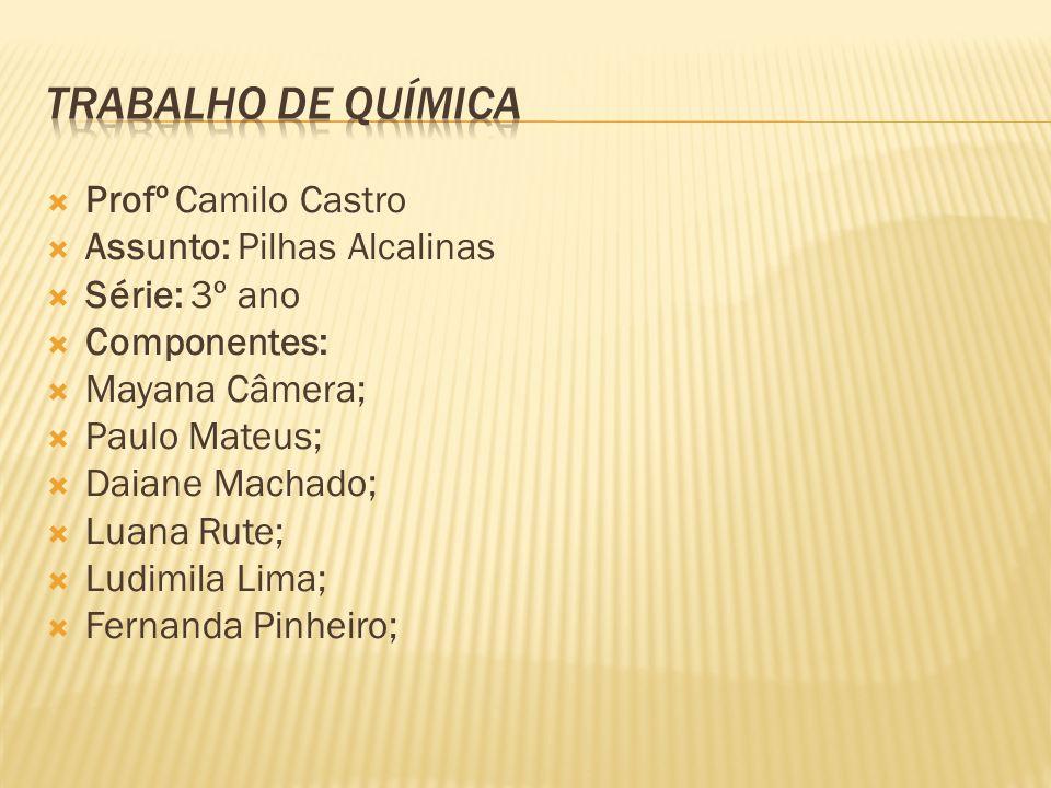 Profº Camilo Castro Assunto: Pilhas Alcalinas Série: 3º ano Componentes: Mayana Câmera; Paulo Mateus; Daiane Machado; Luana Rute; Ludimila Lima; Ferna
