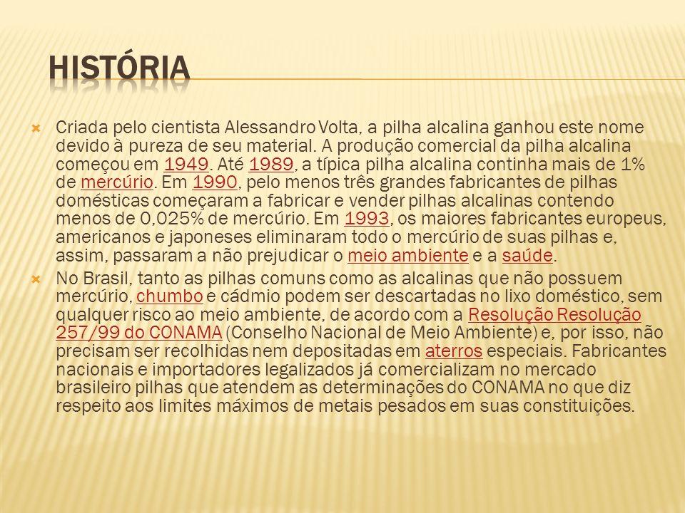 Criada pelo cientista Alessandro Volta, a pilha alcalina ganhou este nome devido à pureza de seu material. A produção comercial da pilha alcalina come