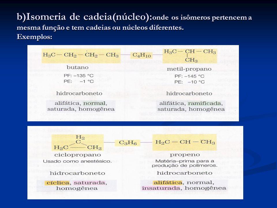 b)Isomeria de cadeia(núcleo): onde os isômeros pertencem a mesma função e tem cadeias ou núcleos diferentes. Exemplos: