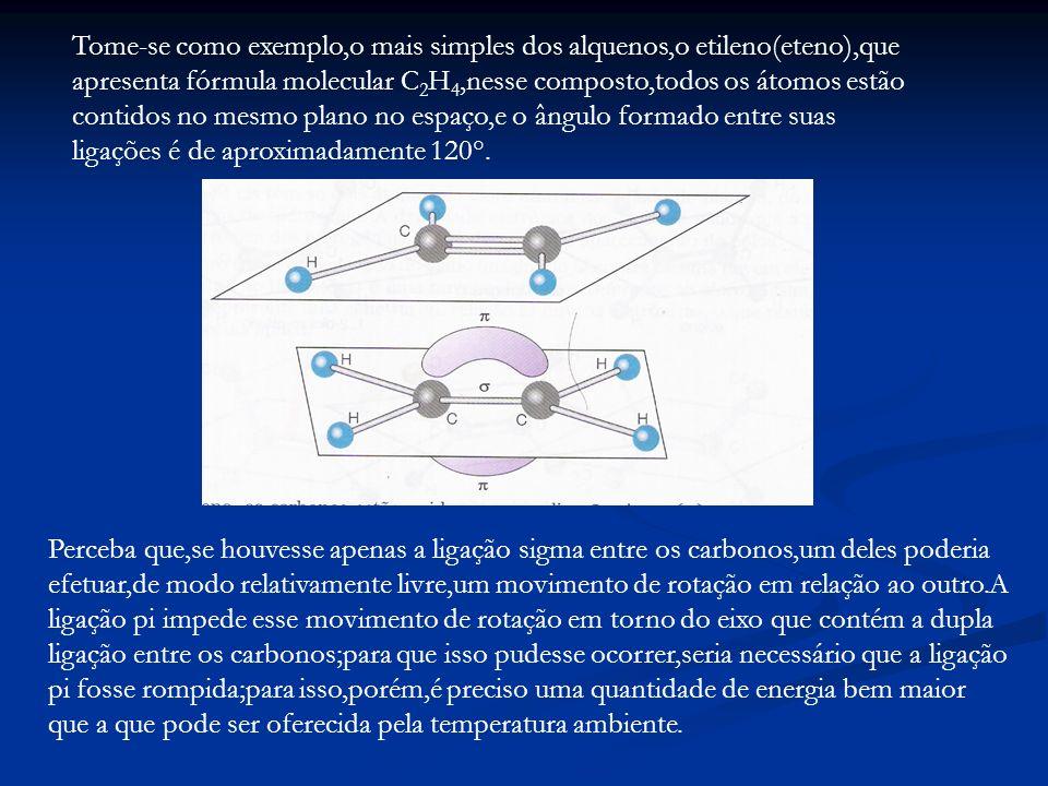 Tome-se como exemplo,o mais simples dos alquenos,o etileno(eteno),que apresenta fórmula molecular C 2 H 4,nesse composto,todos os átomos estão contido