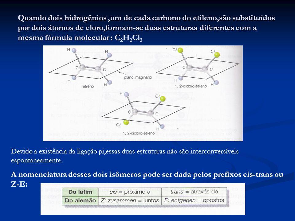 Quando dois hidrogênios,um de cada carbono do etileno,são substituídos por dois átomos de cloro,formam-se duas estruturas diferentes com a mesma fórmu
