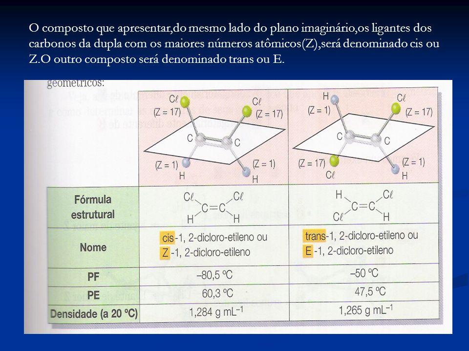O composto que apresentar,do mesmo lado do plano imaginário,os ligantes dos carbonos da dupla com os maiores números atômicos(Z),será denominado cis o