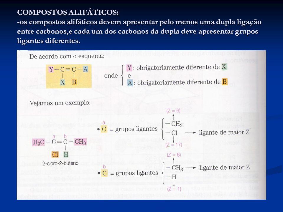 COMPOSTOS ALIFÁTICOS: -os compostos alifáticos devem apresentar pelo menos uma dupla ligação entre carbonos,e cada um dos carbonos da dupla deve apres
