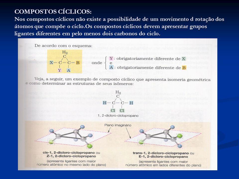 COMPOSTOS CÍCLICOS: Nos compostos cíclicos não existe a possibilidade de um movimento d rotação dos átomos que compõe o ciclo.Os compostos cíclicos de