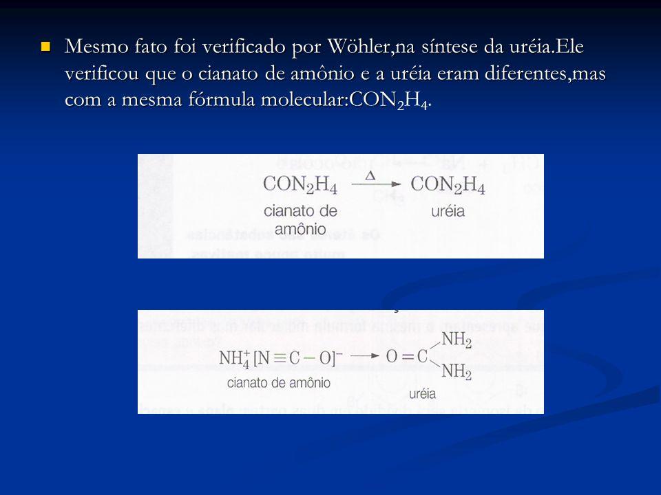 Mesmo fato foi verificado por Wöhler,na síntese da uréia.Ele verificou que o cianato de amônio e a uréia eram diferentes,mas com a mesma fórmula molec