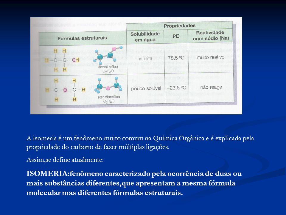 A isomeria é um fenômeno muito comum na Química Orgânica e é explicada pela propriedade do carbono de fazer múltiplas ligações. Assim,se define atualm