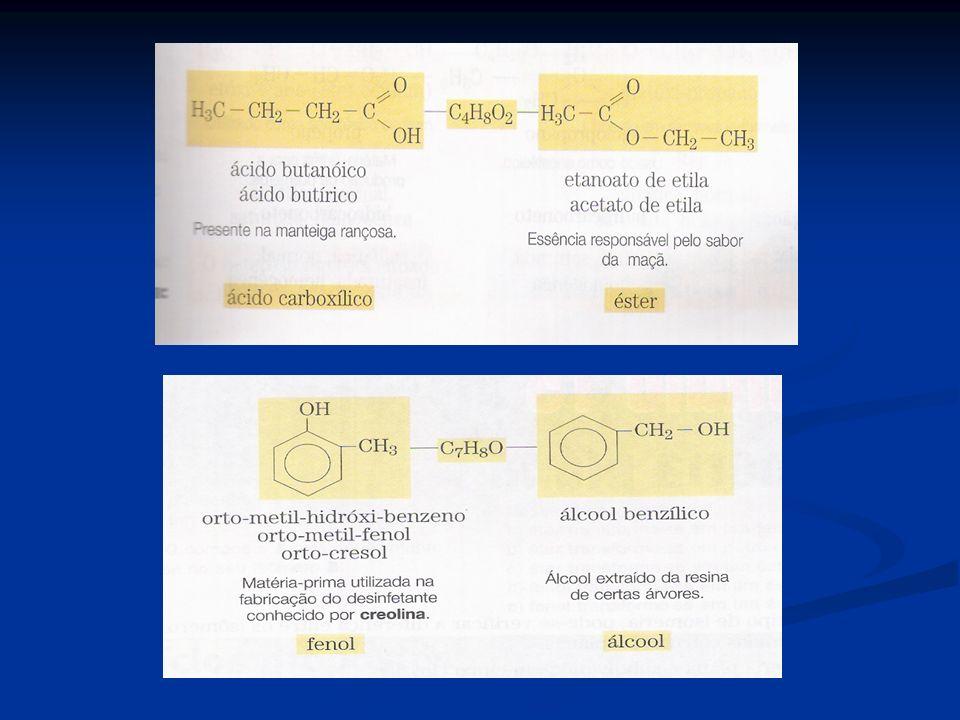 b)Isomeria de cadeia(núcleo): onde os isômeros pertencem a mesma função e tem cadeias ou núcleos diferentes.