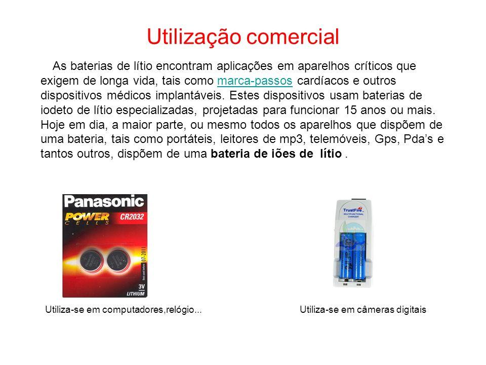 Utilização comercial As baterias de lítio encontram aplicações em aparelhos críticos que exigem de longa vida, tais como marca-passos cardíacos e outros dispositivos médicos implantáveis.
