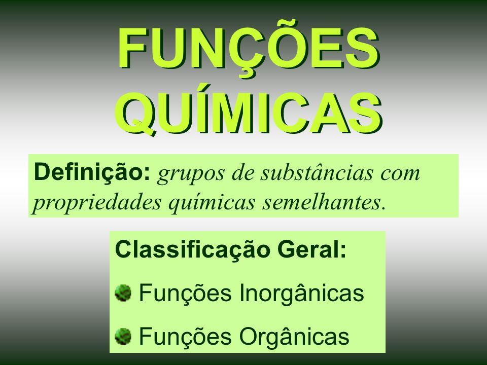 FUNÇÕES QUÍMICAS Definição: grupos de substâncias com propriedades químicas semelhantes.