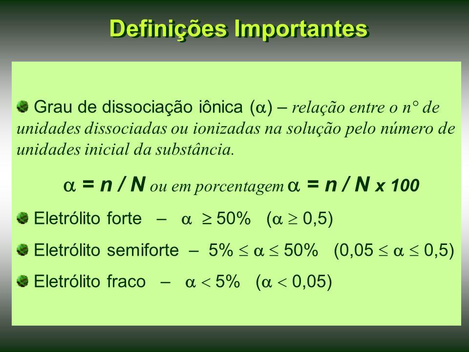 Definições Importantes Grau de dissociação iônica ( ) – relação entre o n° de unidades dissociadas ou ionizadas na solução pelo número de unidades inicial da substância.