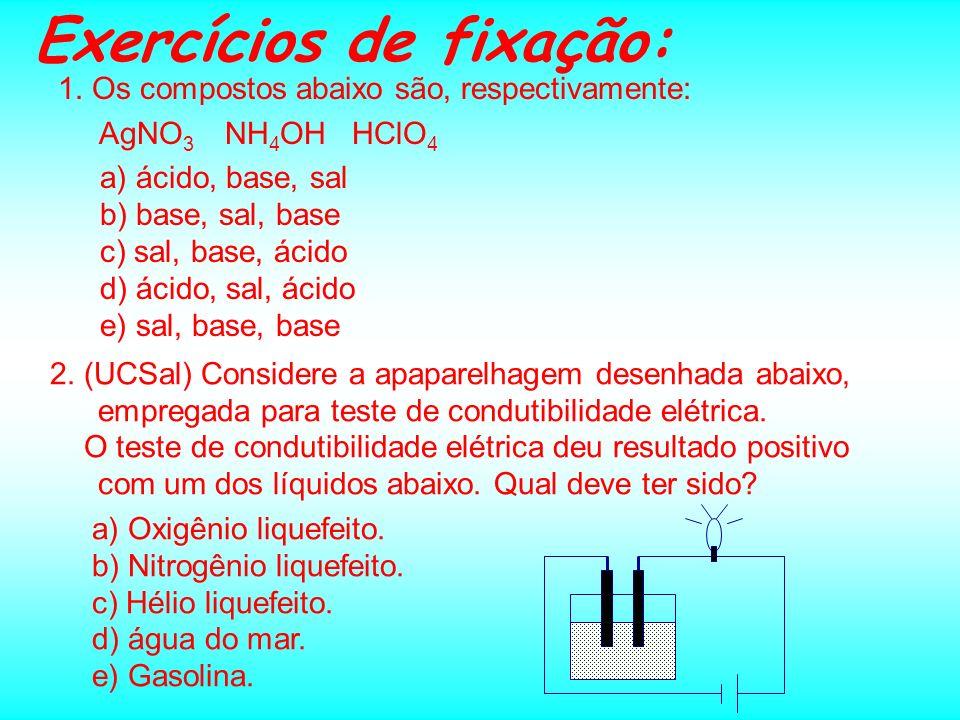 SAIS: Fórmula x Nomenclatura A obtenção da fórmula de sais a partir do nome do sal segue a mesma seqüência da obtenção da fórmula dos ácidos: Ex.