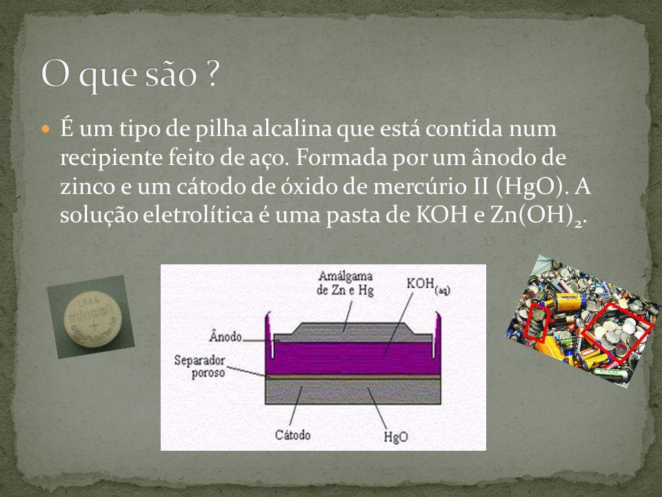 É um tipo de pilha alcalina que está contida num recipiente feito de aço.