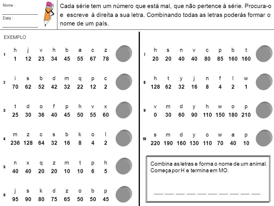 Nome : Data : Cada série tem um número que está mal, que não pertence à série. Procura-o e escreve à direita a sua letra. Combinando todas as letras p